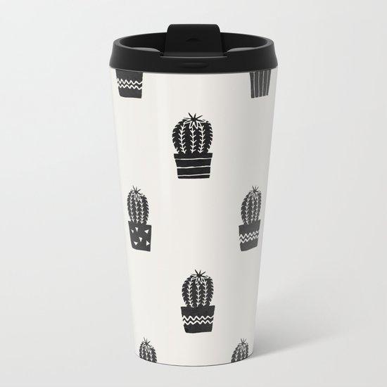 Stamped Potted Cacti Metal Travel Mug