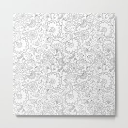 Fly EYES - Patterns GRAY - flowers, floral Metal Print