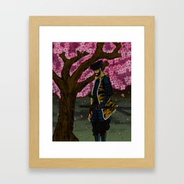 Sakura Tree Samurai Framed Art Print