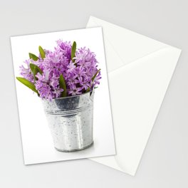 Beautiful Hyacinths in vase over white Stationery Cards
