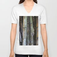 bamboo V-neck T-shirts featuring bamboo by rchaem