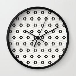 Tiles of Penang - Black and white Wall Clock