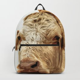 A cow greeting is like no other Backpack