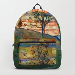 Four Trees with Red Leaves at Sunrise landscape painting by Egon Schiele Backpack