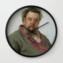 Modest Petrovich Mussorgsky (1839 – 1881) by Ilya Repin in 1881 Wall Clock