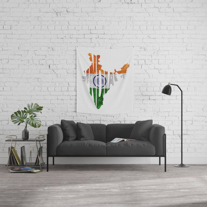 India world map indian typography flag map art wall tapestry by india world map indian typography flag map art wall tapestry gumiabroncs Image collections