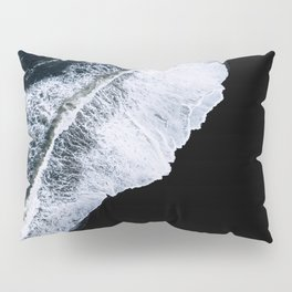Waves crashing on a black sand beach – minimalist Landscape Photography Pillow Sham