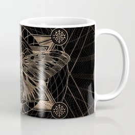 Regal moth in Sacred Geometry - Black and Gold Coffee Mug