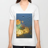 bokeh V-neck T-shirts featuring Bokeh by Blue Lightning Creative
