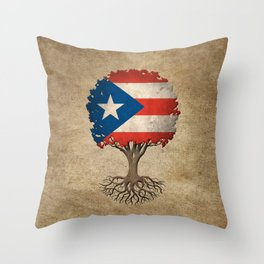 Vintage Tree of Life with Flag of Puerto Rico Throw Pillow