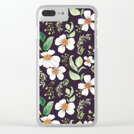 Modern purple green white watercolor daisies floral Clear iPhone Case