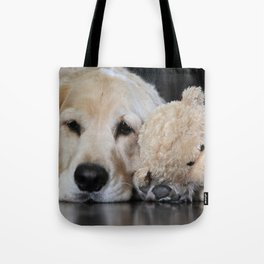 Golden Retriever with Best Friend Tote Bag