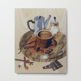 Coffee still life wood marquetry picture Metal Print