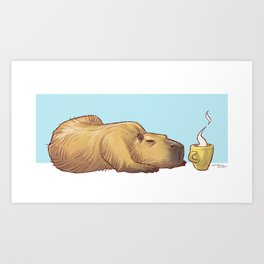 Capy Need Coffee Art Print