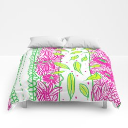 Funkly Floral Pink & Green Comforters