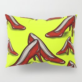 Red Ruby Heels on Fluoro Yellow Pillow Sham