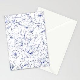 Modern hand drawn navy blue white elegant floral pattern Stationery Cards