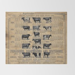 Vintage 1896 Cows Study on Antique Lancaster County Almanac Throw Blanket