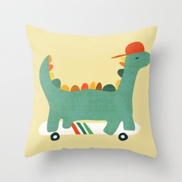 Dinosaur on retro skateboard Throw Pillow