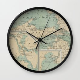 Vintage Great Lakes Lighthouse Map (1898) Wall Clock