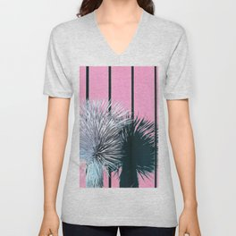 Yucca Plant in Front of Striped Pink Wall Unisex V-Neck