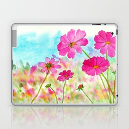 Symphony In Pink, Watercolor Wildflowers Laptop & iPad Skin