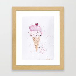 Ice cream Love watercolor illustration summer love pink strawberry Framed Art Print