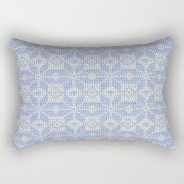 Knitted winter, blue - white pattern Rectangular Pillow
