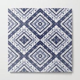 Strict , white blue ornament. Metal Print