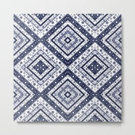 Strict , white blue ornament blue tile decoration moroccan arabic design Metal Print