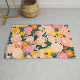 Pink and Peach Roses Pattern Warm palette Rug