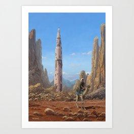 Old Saturn V rocket in desert Art Print