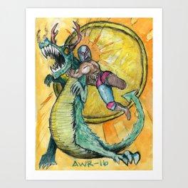 Luchador Vs Dragon Art Print
