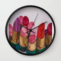 lipstick Wall Clocks featuring Lipstick by HOMartistry