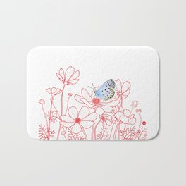 Cosmos and Butterfly Bath Mat