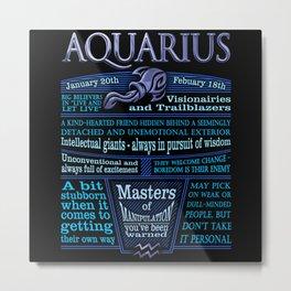 Aquarius Zodiac Sign Astrology Blue Metal Print