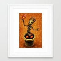 groot Framed Art Prints featuring Groot by Anna Shell