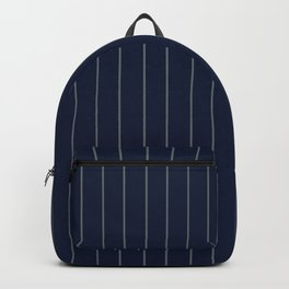Navy Blue & Gray Pinstripe Backpack