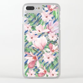 Modern blue white stripes blush pink green watercolor floral Clear iPhone Case