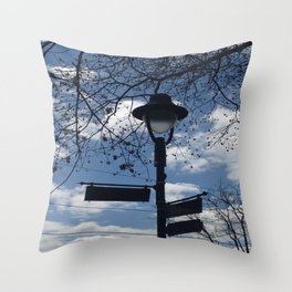 Maplewood - Sign post - blue sky Throw Pillow