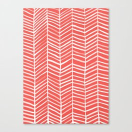 Coral Herringbone Canvas Print