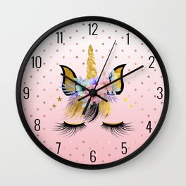 Floral Unicorn  Wall Clock