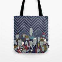 twin peaks Tote Bags featuring Twin Peaks by Ale Giorgini