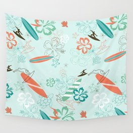 Surfs Up Blue Wall Tapestry