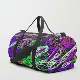 psychedelic rotten sketching texture abstract background in purple blue green Duffle Bag