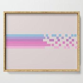 Classic 80s Pop Culture Retro Stripes Pixel Drops - Asakichi Serving Tray