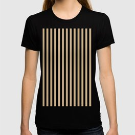 Tan Brown and Black Vertical Stripes T-shirt