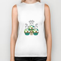 polkadot Biker Tanks featuring Cute Monster With Green And Brown Polkadot Cupcakes by Mydeas