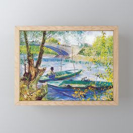 Vincent van Gogh Fisherman and Boats from the Pont de Clichy Framed Mini Art Print