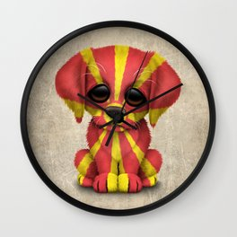 Cute Puppy Dog with flag of Macedonia Wall Clock